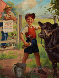 Mainstream Illustration, HY HINTERMEISTER (American, 1897-1997). Grooming for the CountyFair. Oil on canvas. 27.25 x 20.5 in.. Signed lower left...