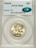 Barber Quarters, 1916-D 25C MS66 PCGS. CAC....