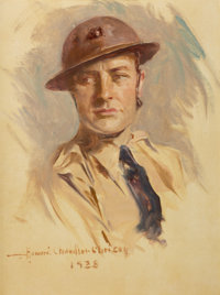 HOWARD CHANDLER CHRISTY (American, 1872-1952) Soldier, 1928 Oil on canvas 23.25 x 17.25 in. Si