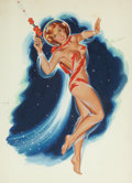 Pin-up and Glamour Art, BILL RANDALL (American, b. 1911). Space Girl. Gouache onboard. 20.5 x 15 in.. Signed upper right. ...