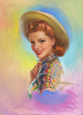Pin-up and Glamour Art, JULES ERBIT (American, 1889-1968). Cowgirl. Pastel on board.29 x 21 in.. Signed lower right. ...