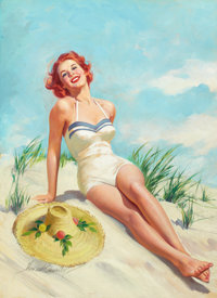 HOWARD CONNOLLY (American, b. 1903) Girl on Beach, Rato cover and calendar, ad illustration Oil on b