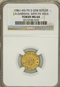 Civil War Tokens, J.A. Garman, PA Sutler Token MS64 NGC. 54th PA Vols. S-I25B....