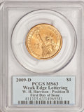Presidential Dollars, 2009-D $1 Harrison Pos. B Weak Edge Lettering First Day of Issue MS63 PCGS. (#4...