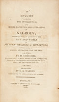 Books:Non-fiction, Henri Gregoire. An Enquiry Concerning the Intellectual and MoralFaculties, and Literature of Negroes; Followed wi...