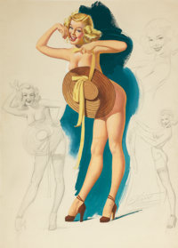 FREEMAN ELLIOT (American, 20th Century) Pin-Up with Sun Hat Mixed media on board 24.25 x 17.5 in