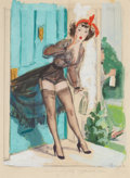 Pin-up and Glamour Art, ROBERT OLIVER SKEMP (American, 1910-1984). No Milk Today,study. Mixed media on paper. 12 x 8.75 in.. Signed lowerright...