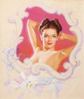 Pin-up and Glamour Art, KNUTE O. MUNSON (American, 20th Century). Pin-Up withOrchids. Pastel on board. 23.75 x 20 in.. Signed lower center....