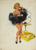 Pin-up and Glamour Art, JOYCE BALLANTYNE (American, 1918-2006). The Gift, preliminarystudy. Gouache on board. 19.75 x 14.25 in.. Signed lower r...