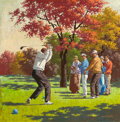 Mainstream Illustration, ARTHUR SARON SARNOFF (American, 1912-2000). Autumn Tee Time.Oil on canvas. 35.5 x 35.5 in.. Signed lower right. ...