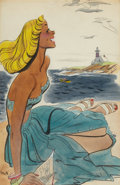 Mainstream Illustration, EARL OLIVER HURST (American, 1895-1958). At the Shore.Watercolor on board. 25.6 x 16.5 in.. Signed lower left. ...