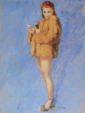 Pin-up and Glamour Art, GUY HOFF (American, 1889-1962). Pin-Up in Fur. Pastel onboard. 38.5 x 28.5 in.. Signed lower right. ...