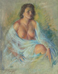 Paintings, ZOE MOZERT (American, 1904-1993). Seated Brunette, Bare Breasts. Pastel on board. 27.5 x 21.5 in.. Signed lower left. ...