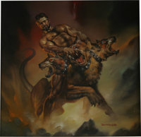 "Boris Vallejo - ""Hercules and Cerberus"" Painting Original Art (1988)"