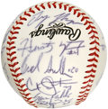Autographs:Baseballs, 2002 Team USA Team Signed Baseball. A whopping 26 signatures fromthe 2002 Team USA baseball team, which includes several w...