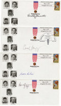 Basketball Collectibles:Others, 1994 Basketball Hall of Fame Induction Signed First Day Covers Lotof 4. Four of the five who were inducted into the Naismit...