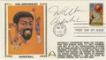 Basketball Collectibles:Others, 1991 Wilt Chamberlain Signed First Day Cover. The freakishly dominant Wilt Chamberlain offers his Hall of Fame signature to...