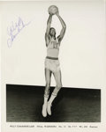 "Autographs:Photos, Wilt Chamberlain Signed Photograph. Great black and white 8x10""print features a delightful blue ink application from the g..."