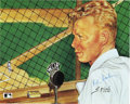 "Autographs:Others, Red Barber Signed Rini Ebbets Field Sketch. Legendary sportscasterand pioneer, Walter Lanier ""Red"" Barber applied his sign..."