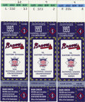 Baseball Collectibles:Tickets, 1993 NLCS Ticket Stubs Lot of 3. Fabulous trio of NLCS tickets fromthe matchup between the Atlanta Braves and the Philadel...