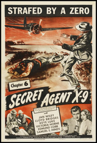 """Secret Agent X-9 (Universal, 1945). One Sheet (27"""" X 41""""). Serial. Chapter 9 -- """"Strafed by a Zero.""""..."""