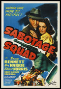 "Movie Posters:War, Sabotage Squad (Columbia, 1942). One Sheet (27"" X 41""). War.Starring Bruce Bennett, Kay Harris, Edward Norris, Sidney Black..."