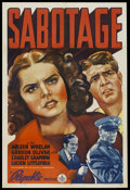 "Movie Posters:War, Sabotage (Republic, 1939). One Sheet (27"" X 41""). War. StarringArleen Whelan, Gordon Oliver, Charley Grapewin and Lucien Li..."