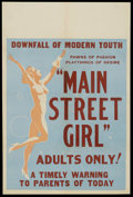 "Movie Posters:Crime, Main Street Girl (Syndicate Pictures, 1938). One Sheet (27"" X 41"").Crime. Starring Jean Carmen, Ted Adams, Ole Oleson, Gwen..."