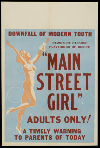 """Main Street Girl (Syndicate Pictures, 1938). One Sheet (27"""" X 41""""). Crime. Starring Jean Carmen, Ted Adams, Ol..."""