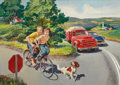 Mainstream Illustration, WALTER MARTIN BAUMHOFER (American, 1904-1987). Bike Safety.Oil on board. 23.5 x 33.5 in.. Signed lower left. ...