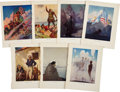 Antiques:Posters & Prints, N. C. Wyeth. Color Illustrations of Famous American Patriots. 7 x 9inches. From Poems of American Patriotism, New York:...(Total: 14 Items)