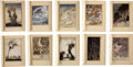 Antiques:Posters & Prints, Arthur Rackham. Illustrated Color Plates From Comus. 5 x 6 inches, mounted to a 7.25 x 9.75 inch backing sheet w... (Total: 20 Items)