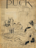 Mainstream Illustration, HARRISON FISHER (American, 1875-1934). Puck magazine, Christmascover, 1898. Pen and ink on board. 26 x 19.5 in.. Signed...