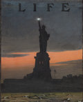 Mainstream Illustration, EDWARD VINCENT BREWER (American, 1883-1971). Lady Liberty atNight, Life Magazine cover study, c. 1908. Mixed media on b...