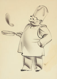 GEORGE PETTY (American, 1894-1975) The Chef Ink on board 16 x 11.5 in. Signed lower right