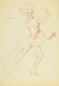 Pin-up and Glamour Art, ALBERTO VARGAS (American, 1896-1982). Carmen Miranda StylePin-Up, preliminary study. Mixed media on paper. 26.5 x 18.5...