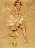Pin-up and Glamour Art, FRITZ WILLIS (American, 1907-1979). Pin-Up in Fur. Mixedmedia on board. 29.5 x 21.25 in.. Signed lower right. ...