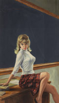 Pulp, Pulp-like, Digests, and Paperback Art, PAUL RADER (American, b. 1906). Teacher's Pet, paperbackcover, 1963. Watercolor on board. 16.25 x 9.5 in.. Initialedlo...