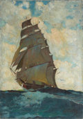 Mainstream Illustration, HORACE GILMORE (American, d. 1999). Ship at Full Sail. Oilon canvas. 36 x 25 in.. Signed lower right. ...