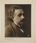"Autographs:Celebrities, Albert Einstein Inscribed Photograph, 10"" x 12"", showing thephysicist handsomely dressed in his early forties, shortly afte..."