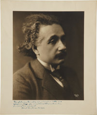 """Albert Einstein Inscribed Photograph, 10"""" x 12"""", showing the physicist handsomely dressed in his early forties..."""