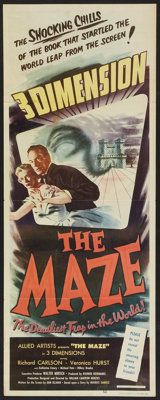 """The Maze (Allied Artists, 1953). Insert (14"""" X 36"""") 3-D Style. Horror"""