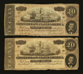 Confederate Notes:1864 Issues, T67 $20 1864 Two Examples.. ... (Total: 2 notes)