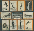 """Olympic Cards, 1913 T221 Pan Handle Scraps """"Champion Women Swimmers"""" Partial Set (65) Plus Over 50 Extras. ..."""