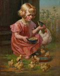 Mainstream Illustration, WILLIAM H. LISTER (American, b. 1866). Girl with Chicks. Oilon board. 30 x 22 in.. Signed lower right. ...