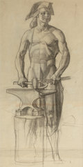 Paintings, DEAN CORNWELL (American, 1892-1960). Blacksmith study. Charcoal on paper. 25.75 x 13 in.. Initialed lower right. ...