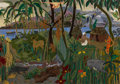 Mainstream Illustration, CATHERINE HAW (American, 20th Century). Jungle Village.Mixed-media on board. 25 x 37 in.. Not signed. ...