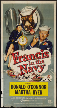 "Francis in the Navy (Universal, 1955). Three Sheet (41"" X 81""). Comedy"