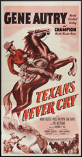 """Texans Never Cry (Columbia, R-1957). Three Sheet (41"""" X 81""""). Western"""