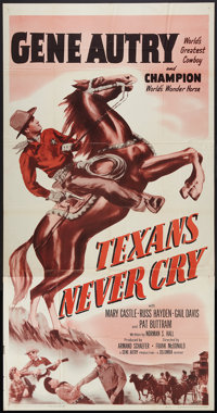 "Texans Never Cry (Columbia, R-1957). Three Sheet (41"" X 81""). Western"